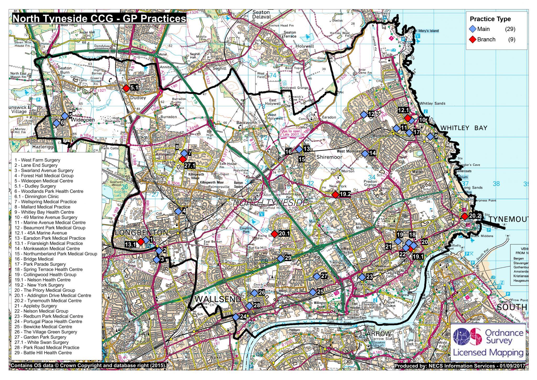 GP Practice (map view area) - North Tyneside CCG
